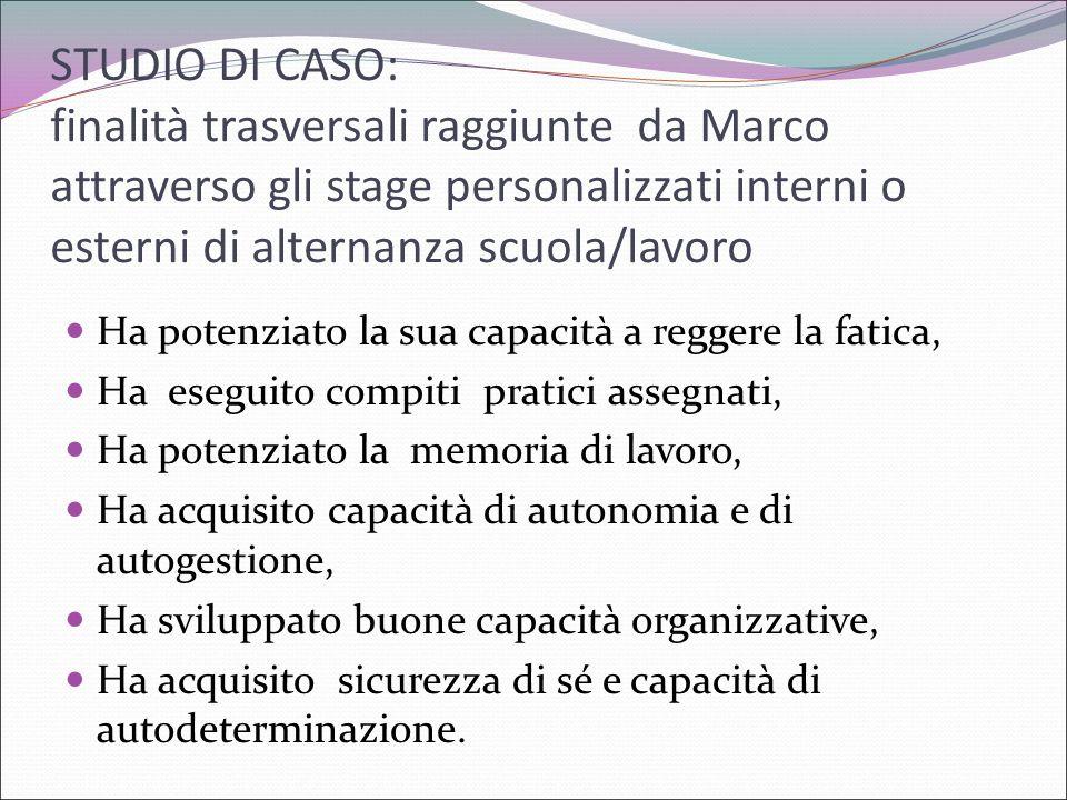 STUDIO DI CASO: finalità trasversali raggiunte da Marco attraverso gli stage personalizzati interni o esterni di alternanza scuola/lavoro Ha potenziat