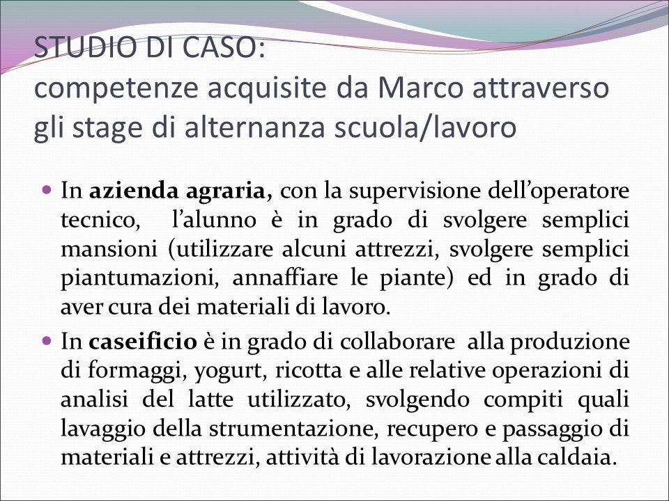 STUDIO DI CASO: competenze acquisite da Marco attraverso gli stage di alternanza scuola/lavoro In azienda agraria, con la supervisione dell'operatore
