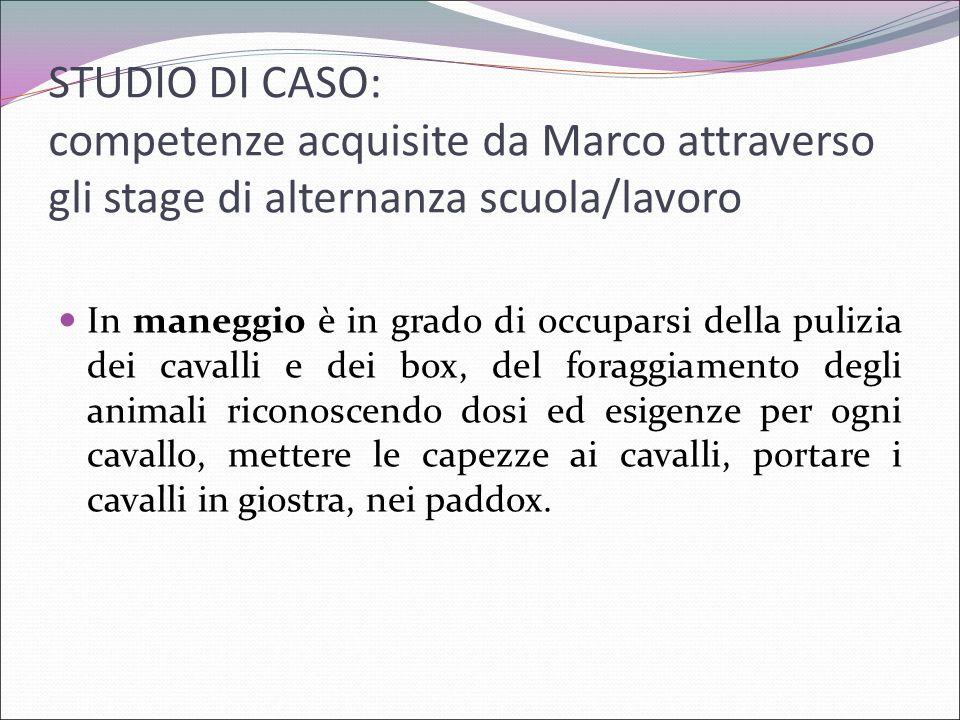 STUDIO DI CASO: competenze acquisite da Marco attraverso gli stage di alternanza scuola/lavoro In maneggio è in grado di occuparsi della pulizia dei c