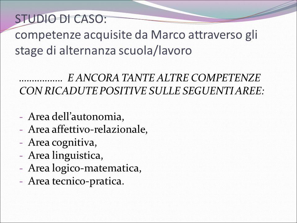 STUDIO DI CASO: competenze acquisite da Marco attraverso gli stage di alternanza scuola/lavoro …………….. E ANCORA TANTE ALTRE COMPETENZE CON RICADUTE PO