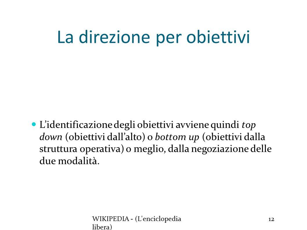 La direzione per obiettivi WIKIPEDIA - (L enciclopedia libera) 12 L'identificazione degli obiettivi avviene quindi top down (obiettivi dall'alto) o bottom up (obiettivi dalla struttura operativa) o meglio, dalla negoziazione delle due modalità.