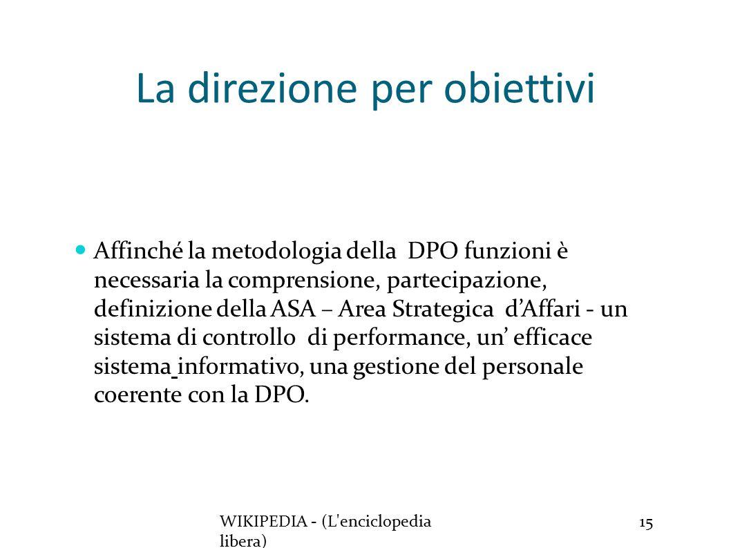 La direzione per obiettivi WIKIPEDIA - (L enciclopedia libera) 15 Affinché la metodologia della DPO funzioni è necessaria la comprensione, partecipazione, definizione della ASA – Area Strategica d'Affari - un sistema di controllo di performance, un' efficace sistema informativo, una gestione del personale coerente con la DPO.