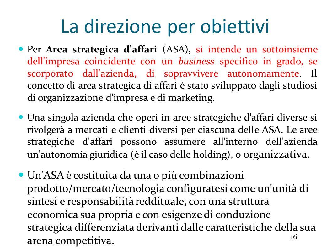La direzione per obiettivi 16 Per Area strategica d affari (ASA), si intende un sottoinsieme dell impresa coincidente con un business specifico in grado, se scorporato dall azienda, di sopravvivere autonomamente.