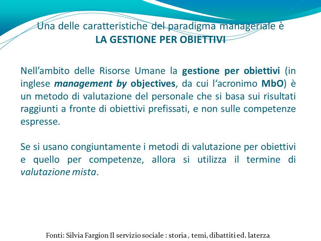 Una delle caratteristiche del paradigma manageriale è LA GESTIONE PER OBIETTIVI Fonti: Silvia Fargion Il servizio sociale : storia, temi, dibattiti ed.
