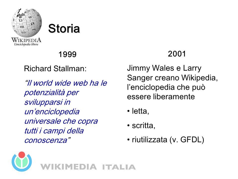 """1999 Richard Stallman: """"Il world wide web ha le potenzialità per svilupparsi in un'enciclopedia universale che copra tutti i campi della conoscenza"""" S"""