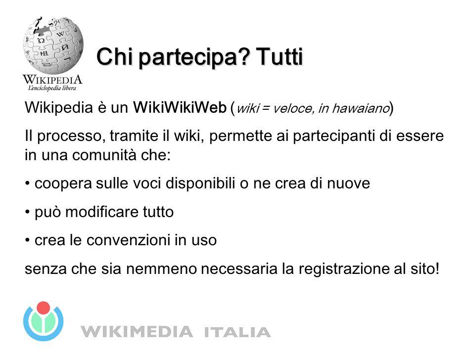 Chi partecipa? Tutti Wikipedia è un WikiWikiWeb ( wiki = veloce, in hawaiano ) Il processo, tramite il wiki, permette ai partecipanti di essere in una