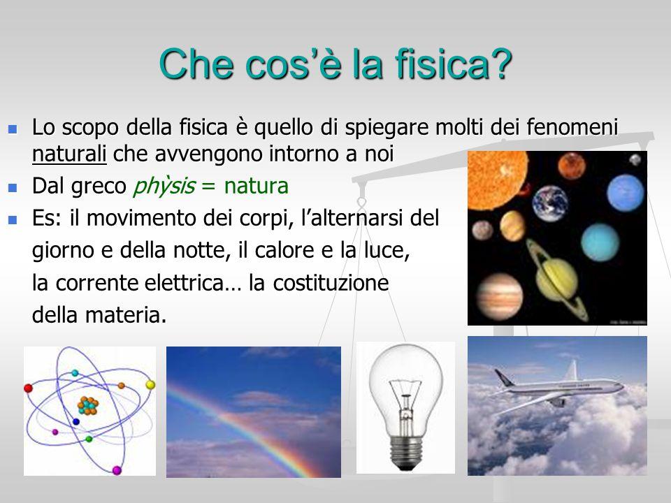 Che cos'è la fisica? Lo scopo della fisica è quello di spiegare molti dei fenomeni naturali che avvengono intorno a noi Lo scopo della fisica è quello