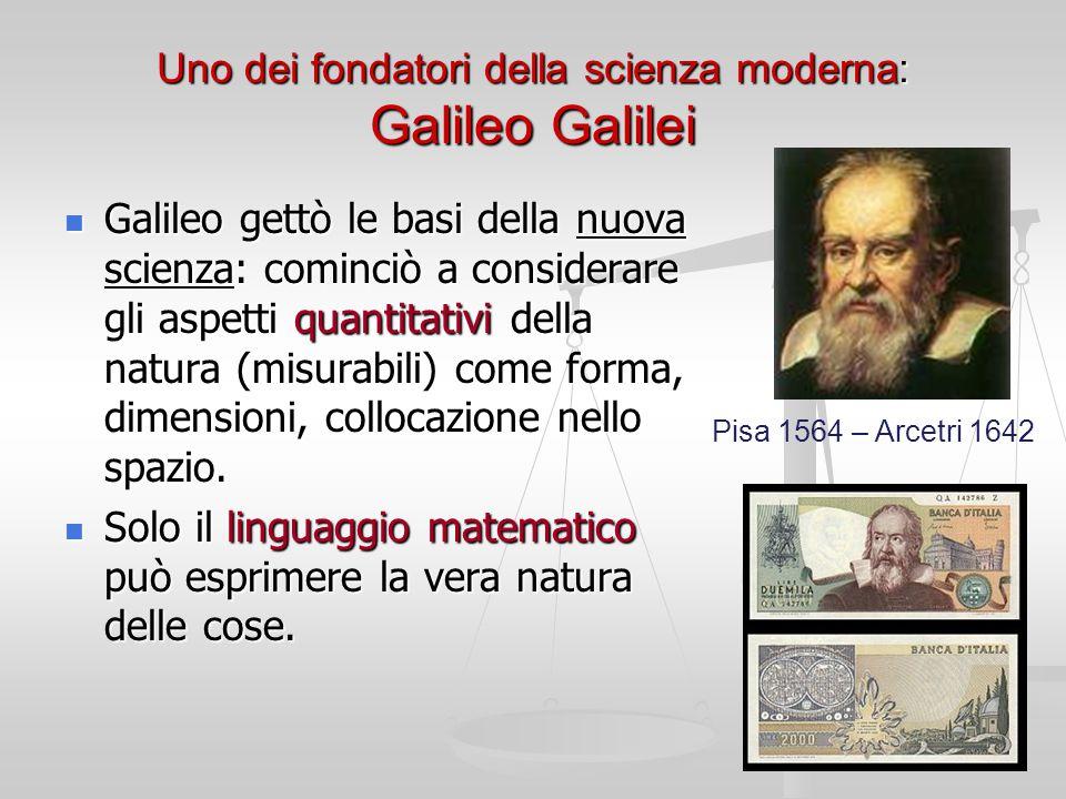 Uno dei fondatori della scienza moderna: Galileo Galilei Galileo gettò le basi della nuova scienza: cominciò a considerare gli aspetti quantitativi della natura (misurabili) come forma, dimensioni, collocazione nello spazio.