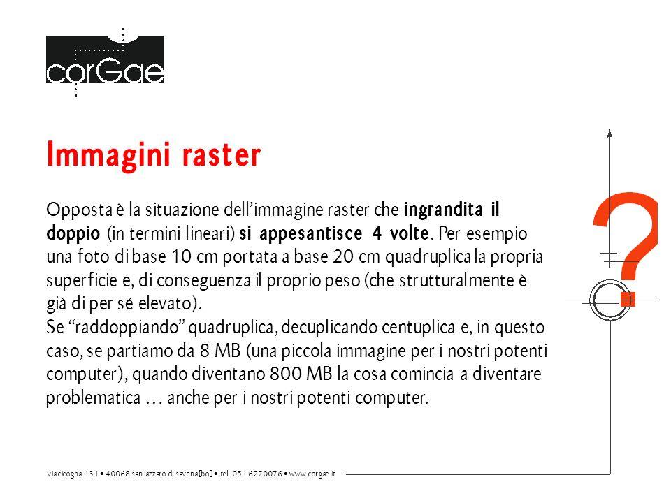 Immagini raster Opposta è la situazione dell'immagine raster che ingrandita il doppio (in termini lineari) si appesantisce 4 volte.