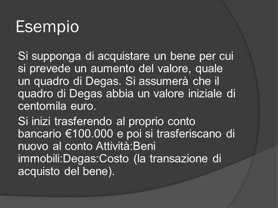 Esempio Si supponga di acquistare un bene per cui si prevede un aumento del valore, quale un quadro di Degas.