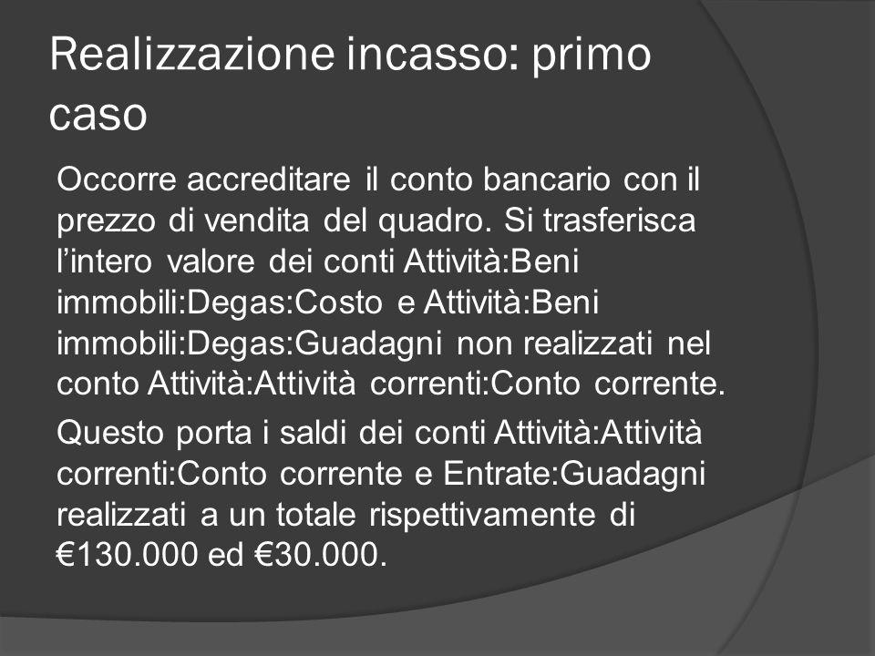 Realizzazione incasso: primo caso Occorre accreditare il conto bancario con il prezzo di vendita del quadro.