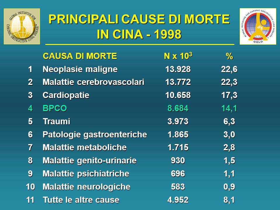 PRINCIPALI CAUSE DI MORTE IN CINA - 1998 CAUSA DI MORTE CAUSA DI MORTE N x 10 3 %1 Neoplasie maligne 13.92822,6 2 Malattie cerebrovascolari 13.77222,3 3Cardiopatie10.65817,3 4BPCO8.68414,1 5Traumi3.9736,3 6 Patologie gastroenteriche 1.8653,0 7 Malattie metaboliche 1.7152,8 8 Malattie genito-urinarie 9301,5 9 Malattie psichiatriche 6961,1 10 Malattie neurologiche 5830,9 11 Tutte le altre cause 4.9528,1