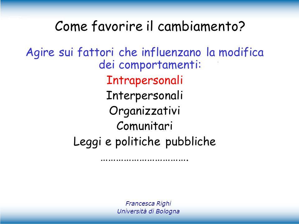 Francesca Righi Università di Bologna Come favorire il cambiamento? Agire sui fattori che influenzano la modifica dei comportamenti: Intrapersonali In