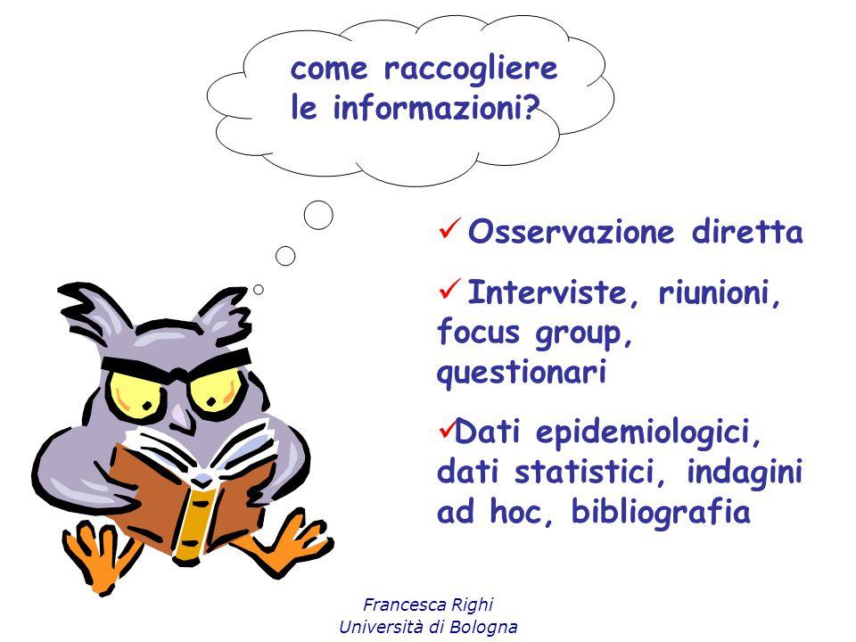 Francesca Righi Università di Bologna come raccogliere le informazioni? Osservazione diretta Interviste, riunioni, focus group, questionari Dati epide