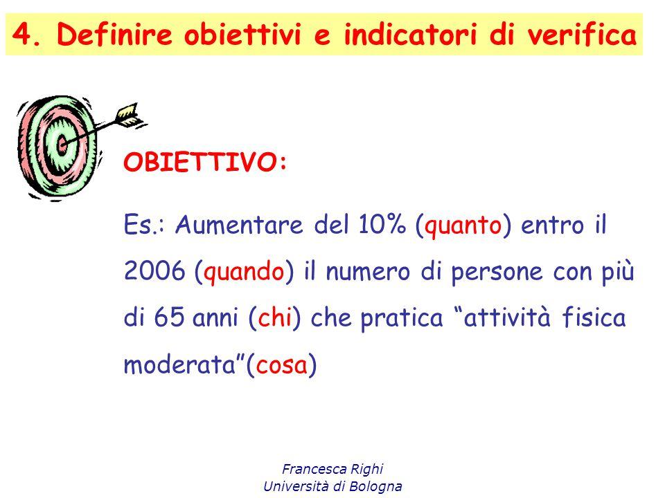 4. Definire obiettivi e indicatori di verifica Francesca Righi Università di Bologna OBIETTIVO: Es.: Aumentare del 10% (quanto) entro il 2006 (quando)