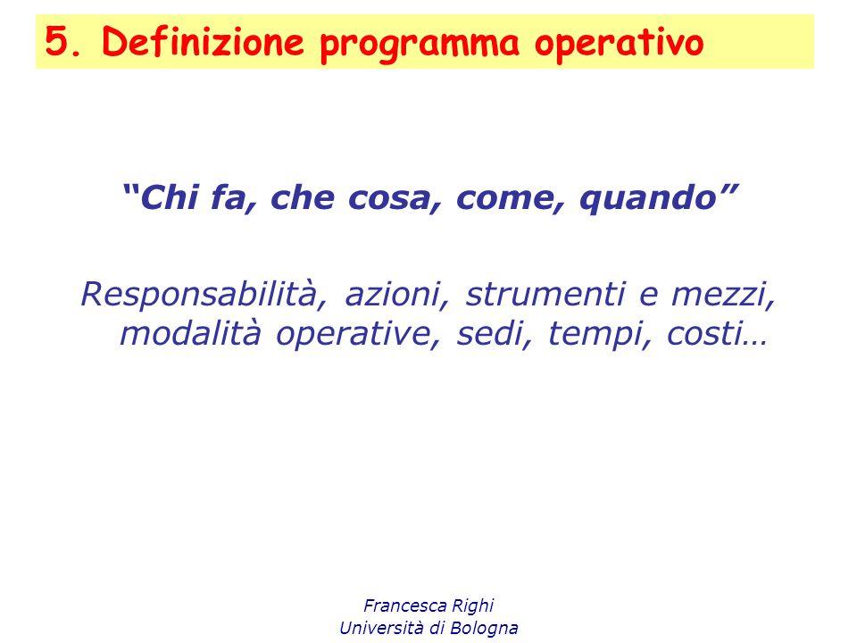 """5. Definizione programma operativo Francesca Righi Università di Bologna """"Chi fa, che cosa, come, quando"""" Responsabilità, azioni, strumenti e mezzi, m"""