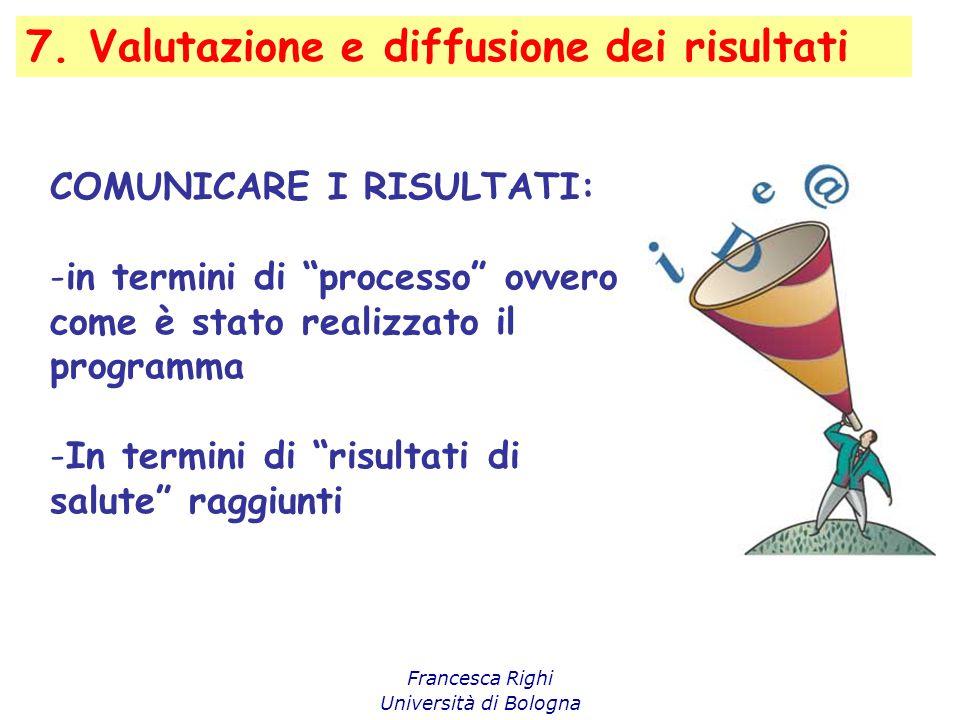 """7. Valutazione e diffusione dei risultati Francesca Righi Università di Bologna COMUNICARE I RISULTATI: -in termini di """"processo"""" ovvero come è stato"""