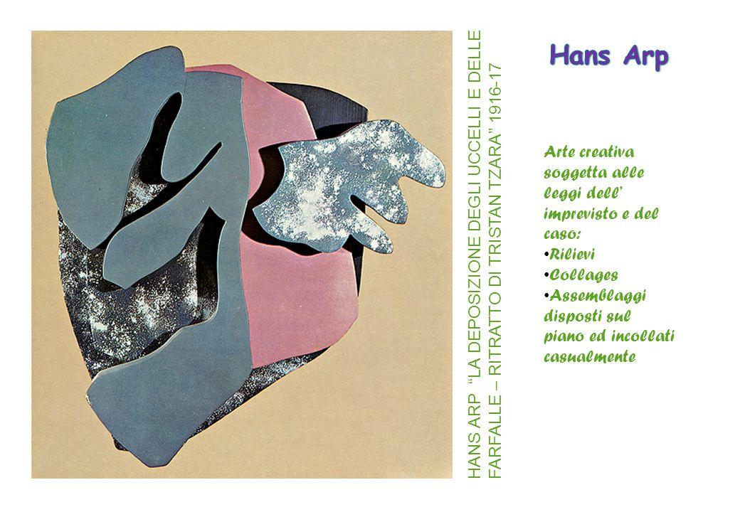 """Arte creativa soggetta alle leggi dell' imprevisto e del caso: Rilievi Collages Assemblaggi disposti sul piano ed incollati casualmente HANS ARP """"LA D"""