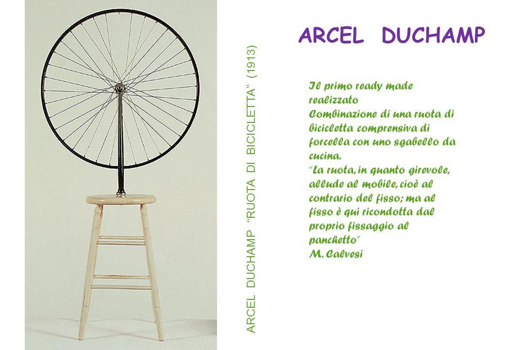 """ARCEL DUCHAMP """"RUOTA DI BICICLETTA"""" (1913) Il primo ready made realizzato Combinazione di una ruota di bicicletta comprensiva di forcella con uno sgab"""