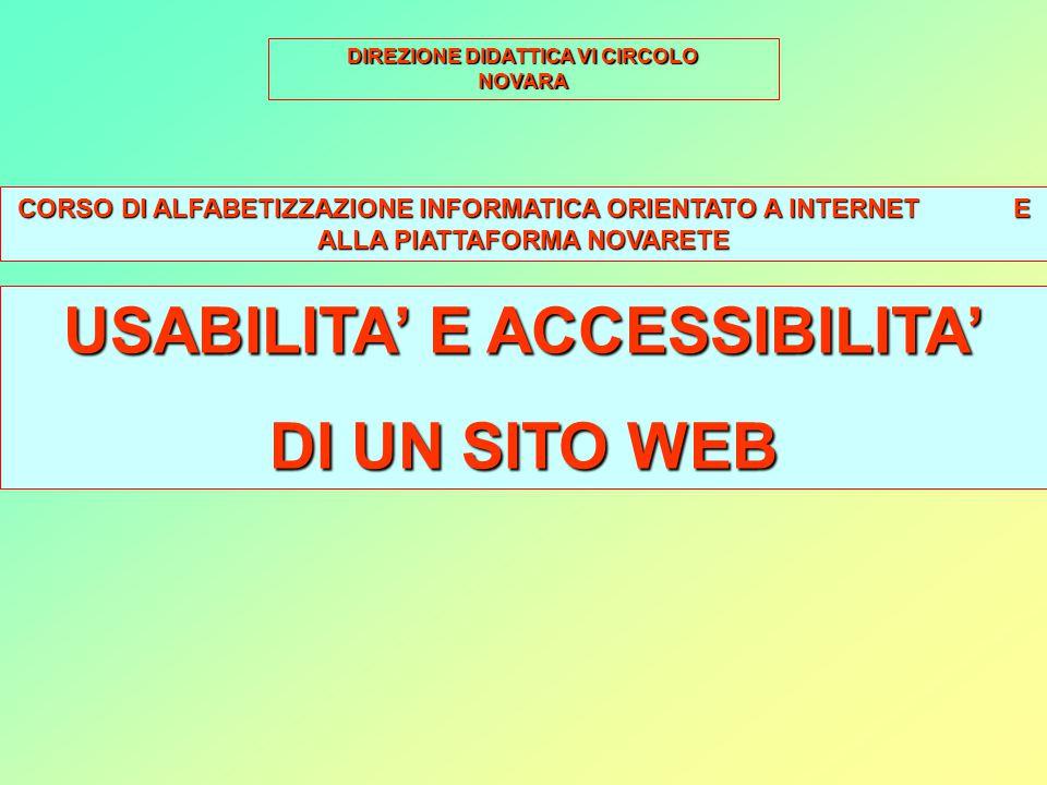 livello di qualità Il livello di qualità di un sito web si misura attraverso due fattori: usabilità, la sua usabilità, accessibilità.