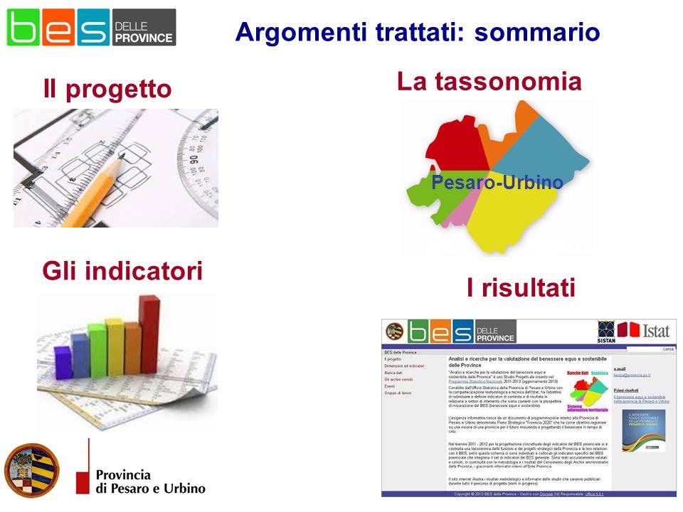 La tassonomia Il progetto Gli indicatori Argomenti trattati: sommario I risultati Pesaro-Urbino