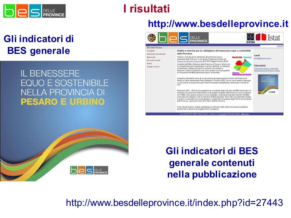 Gli indicatori di BES generale http://www.besdelleprovince.it I risultati Gli indicatori di BES generale contenuti nella pubblicazione http://www.besdelleprovince.it/index.php?id=27443
