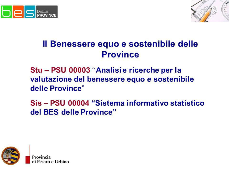 Il Benessere equo e sostenibile delle Province Stu – PSU 00003 Analisi e ricerche per la valutazione del benessere equo e sostenibile delle Province Sis – PSU 00004 Sistema informativo statistico del BES delle Province