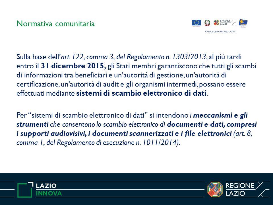 Normativa comunitaria Sulla base dell'art. 122, comma 3, del Regolamento n.