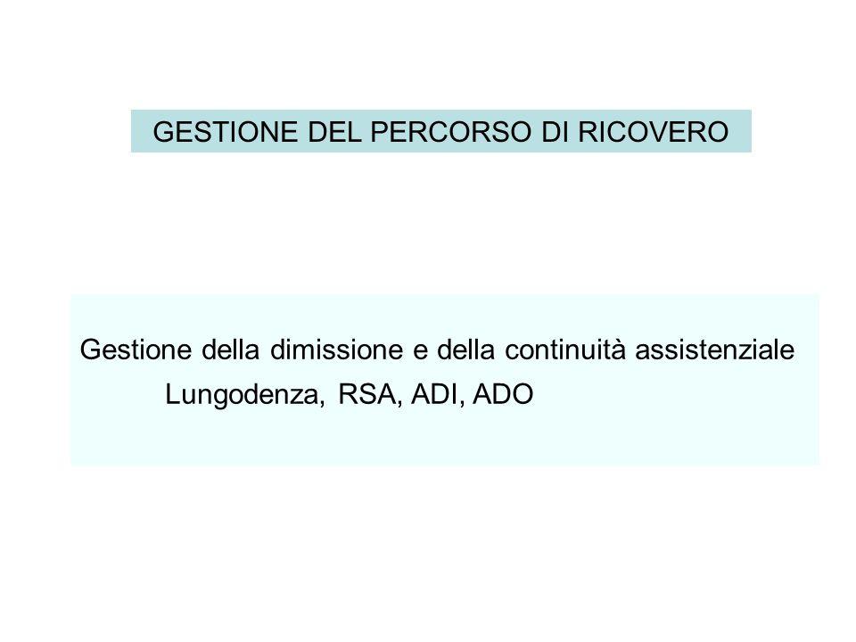 Gestione della dimissione e della continuità assistenziale Lungodenza, RSA, ADI, ADO GESTIONE DEL PERCORSO DI RICOVERO