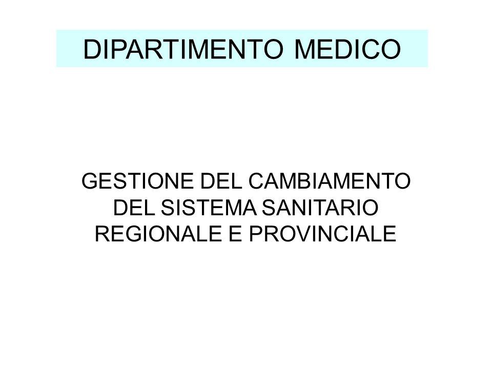 GESTIONE DEL CAMBIAMENTO DEL SISTEMA SANITARIO REGIONALE E PROVINCIALE DIPARTIMENTO MEDICO