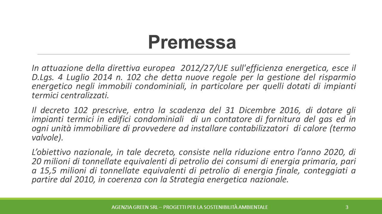 Premessa In attuazione della direttiva europea 2012/27/UE sull efficienza energetica, esce il D.Lgs.