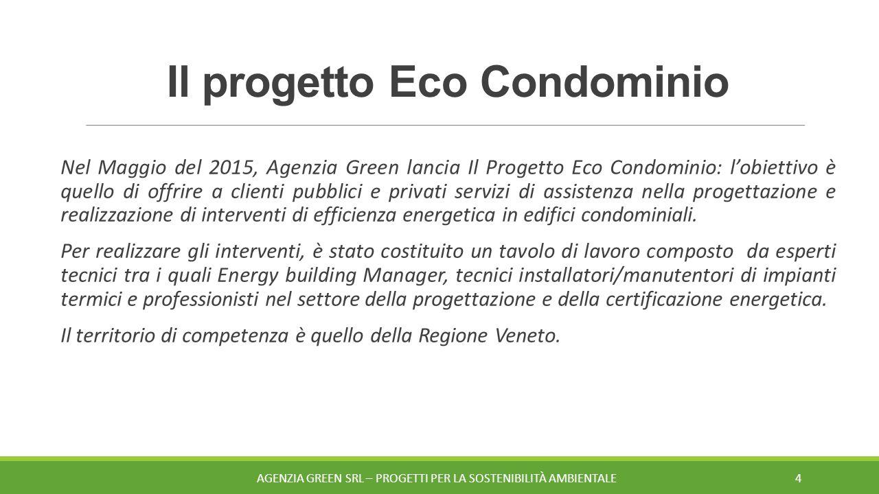 Il progetto Eco Condominio Nel Maggio del 2015, Agenzia Green lancia Il Progetto Eco Condominio: l'obiettivo è quello di offrire a clienti pubblici e privati servizi di assistenza nella progettazione e realizzazione di interventi di efficienza energetica in edifici condominiali.