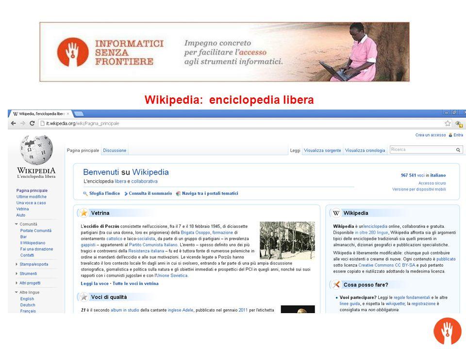 Agenda: ! Chi e' ISF ! Il progetto Navigare Insieme Wikipedia: enciclopedia libera