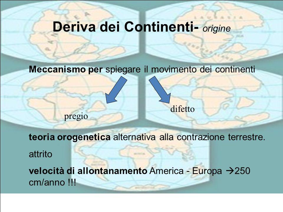 Deriva dei Continenti- origine Meccanismo per spiegare il movimento dei continenti teoria orogenetica alternativa alla contrazione terrestre. attrito