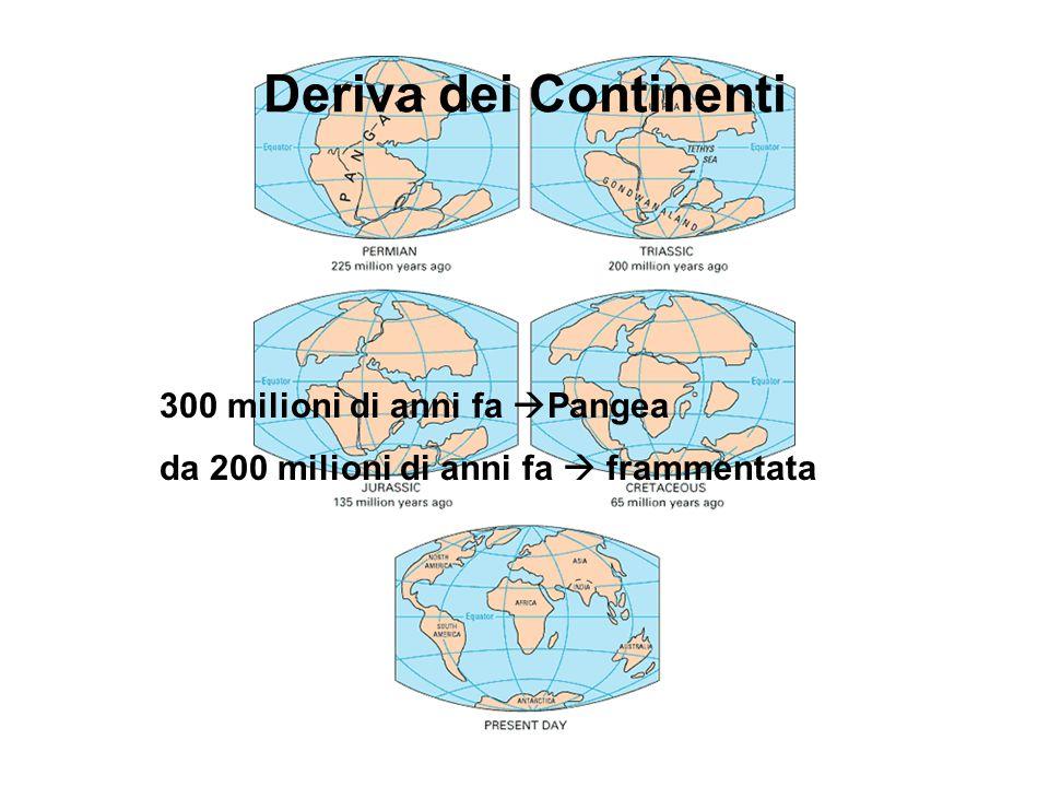 Deriva dei Continenti 300 milioni di anni fa  Pangea da 200 milioni di anni fa  frammentata