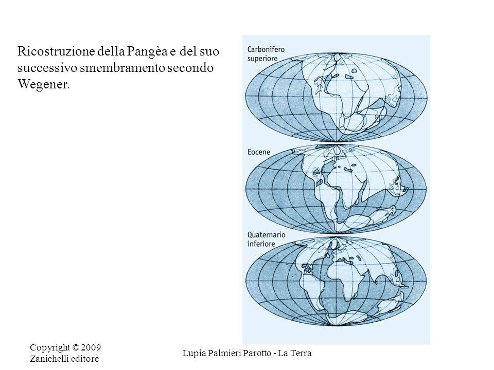 Copyright © 2009 Zanichelli editore Lupia Palmieri Parotto - La Terra Ricostruzione della Pangèa e del suo successivo smembramento secondo Wegener.