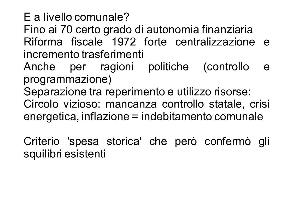 A partire dagli 80 il criterio spesa storica sostituito in parte con un fondo perequativo Ma vero cambiamento anni 90: 1992 ICI Nel 1993 fine spesa storica e istituzione di 3 fondi Autonomia in parte contenuta dai vincoli di bilancio europei