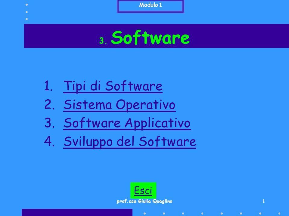 Modulo 1 2 3.1 Tipi di Software E' suddiviso in due categorie: Software di Base o di Sistema Software Applicativo Modulo 1