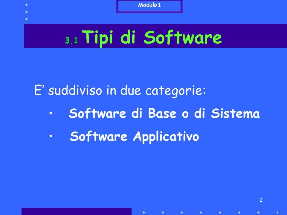 3 3.1 Tipi di Software Software di Base o di Sistema Comprende principalmente il firmware ed il sistema operativo E' costituito da programmi che sono indispensabili al funzionamento del computer e per questo sono diversi per computer di diverso tipo Modulo 1