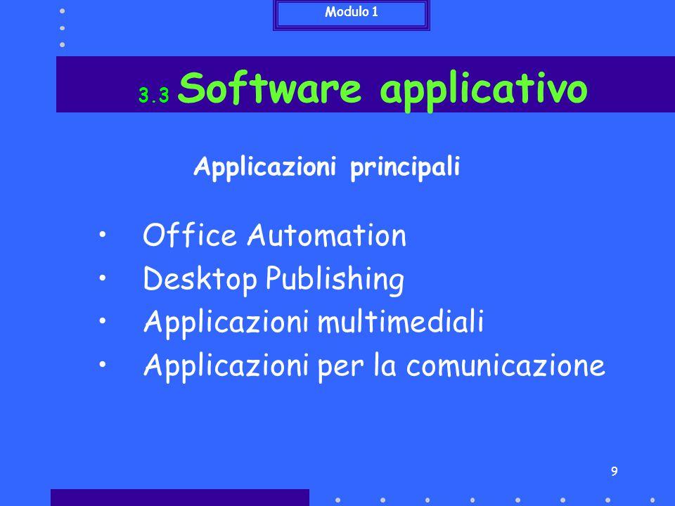 10 Elaborazione testi Database Fogli di calcolo Presentazioni 3.3 Software applicativo Office Automation Word, Access, Excel, PowerPoint, ecc… Software per la gestione di Modulo 1