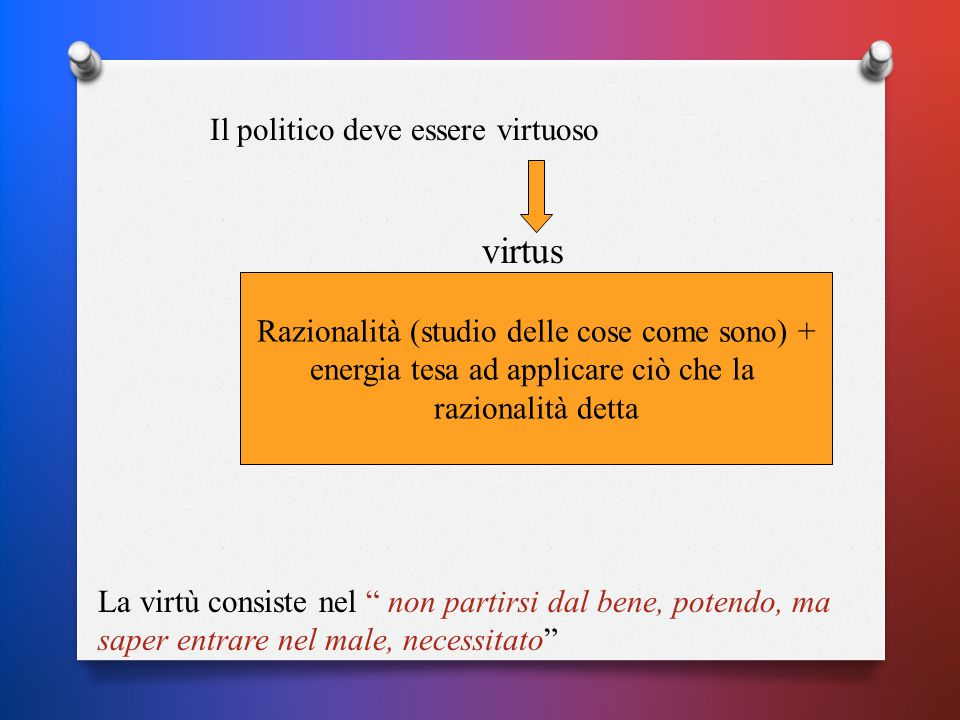 Il politico deve essere virtuoso virtus Razionalità (studio delle cose come sono) + energia tesa ad applicare ciò che la razionalità detta La virtù consiste nel non partirsi dal bene, potendo, ma saper entrare nel male, necessitato
