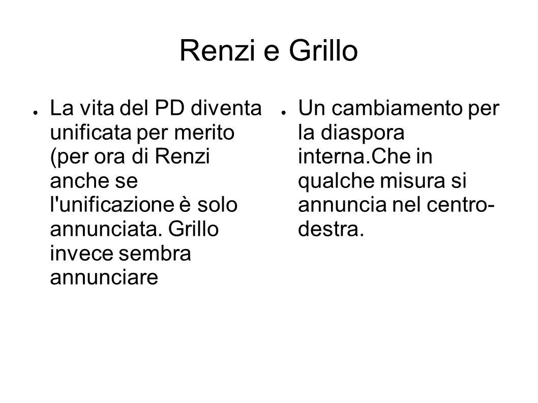 Renzi e Grillo ● La vita del PD diventa unificata per merito (per ora di Renzi anche se l unificazione è solo annunciata.