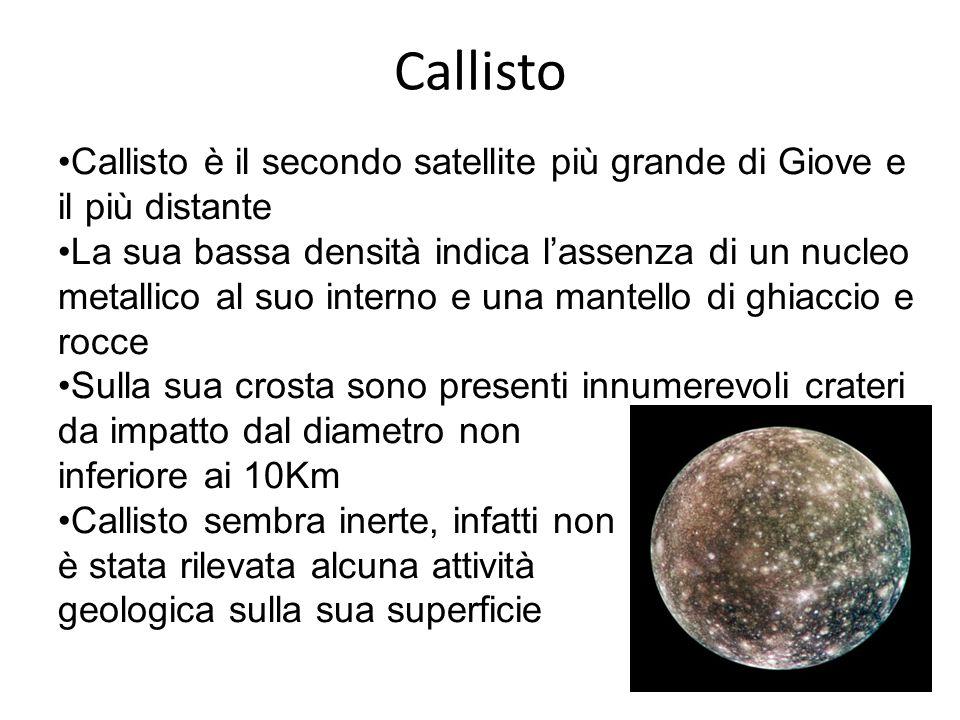 Callisto Callisto è il secondo satellite più grande di Giove e il più distante La sua bassa densità indica l'assenza di un nucleo metallico al suo interno e una mantello di ghiaccio e rocce Sulla sua crosta sono presenti innumerevoli crateri da impatto dal diametro non inferiore ai 10Km Callisto sembra inerte, infatti non è stata rilevata alcuna attività geologica sulla sua superficie