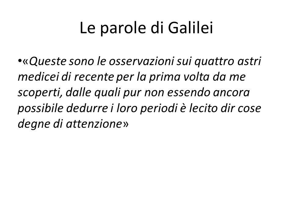 Le parole di Galilei «Queste sono le osservazioni sui quattro astri medicei di recente per la prima volta da me scoperti, dalle quali pur non essendo ancora possibile dedurre i loro periodi è lecito dir cose degne di attenzione»