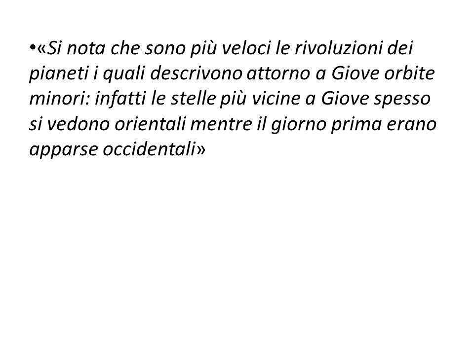 Qui sono state riportate le parole di Galilei riguardanti le sue osservazioni dei quattro satelliti di Giove Dopo aver raccolto 65 osservazioni Galilei riportò la notizia della scoperta degli Astri Medicei, così chiamati in onore di Cosimo II De' Medici