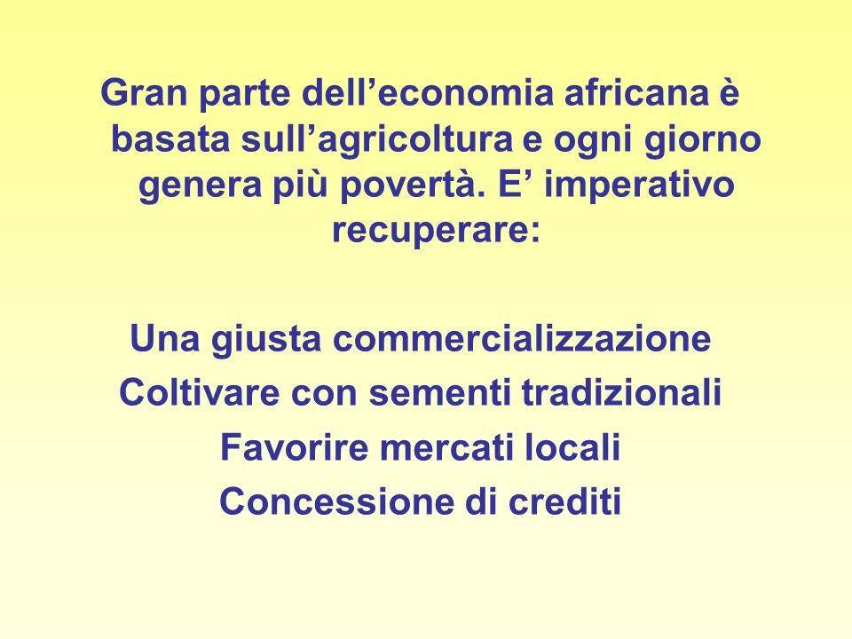 Gran parte dell'economia africana è basata sull'agricoltura e ogni giorno genera più povertà. E' imperativo recuperare: Una giusta commercializzazione