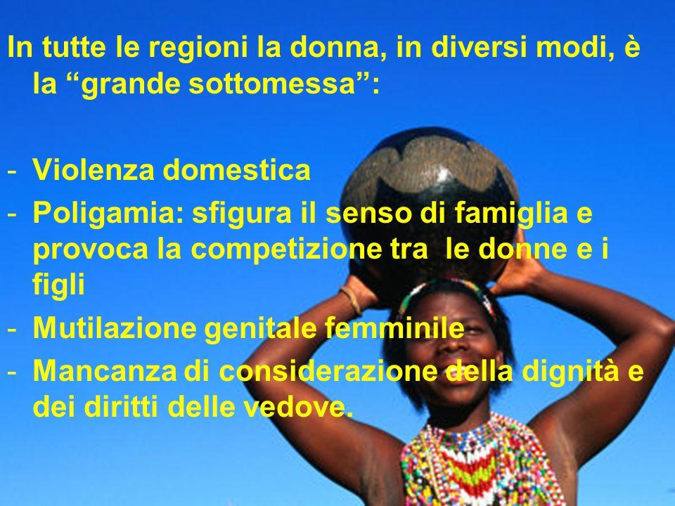 """In tutte le regioni la donna, in diversi modi, è la """"grande sottomessa"""": -Violenza domestica -Poligamia: sfigura il senso di famiglia e provoca la com"""