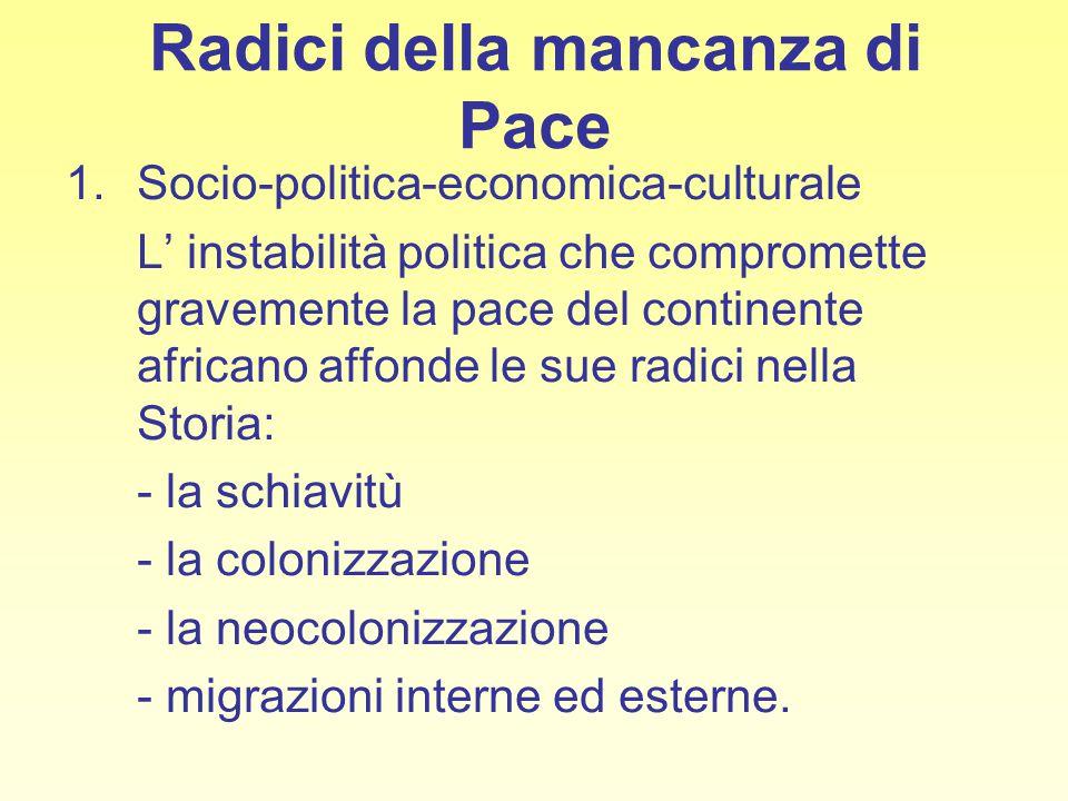 Radici della mancanza di Pace 1.Socio-politica-economica-culturale L' instabilità politica che compromette gravemente la pace del continente africano
