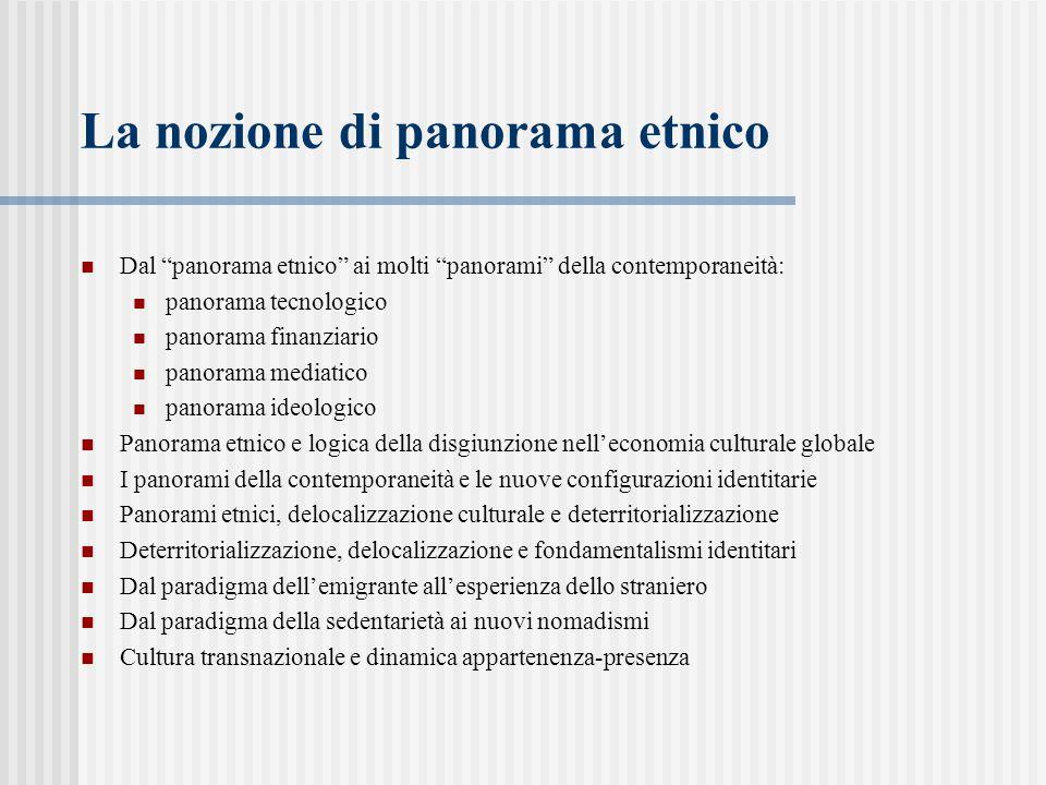 """La nozione di panorama etnico Dal """"panorama etnico"""" ai molti """"panorami"""" della contemporaneità: panorama tecnologico panorama finanziario panorama medi"""