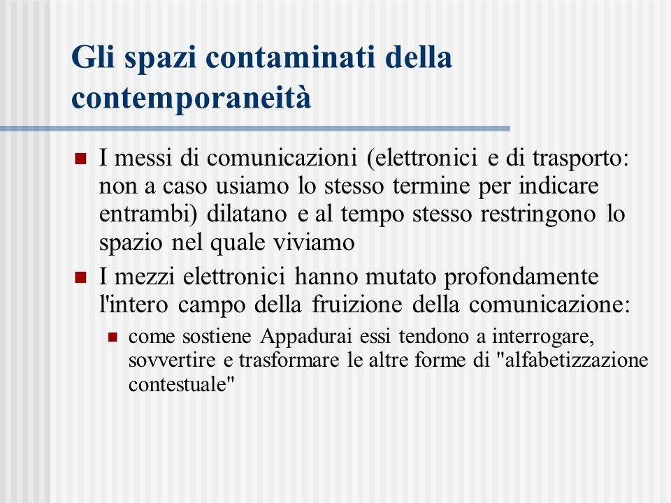 Gli spazi contaminati della contemporaneità I messi di comunicazioni (elettronici e di trasporto: non a caso usiamo lo stesso termine per indicare ent